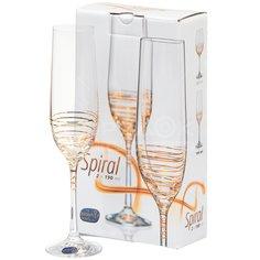 Бокал для шампанского Bohemia Золотая спираль 40729/M8441/190-2, 2 шт, 190 мл