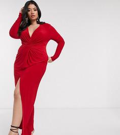 Красное платье макси с перекрученной отделкой Club L London Plus-Красный