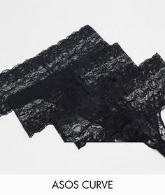 Черные кружевные стринги в наборе из 3 штук ASOS DESIGN Curve-Черный