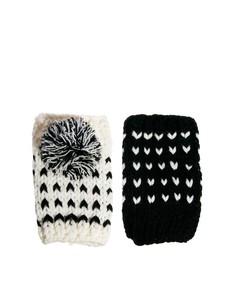 Перчатки без пальцев с помонами Plush-Мульти