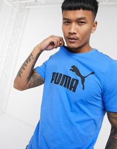Синяя футболка с логотипом Puma essentials-Голубой
