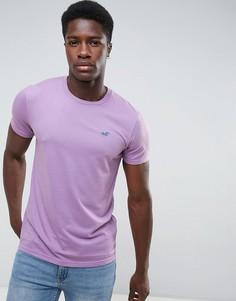 Фиолетовая футболка узкого кроя с круглым вырезом и логотипом Hollister-Фиолетовый
