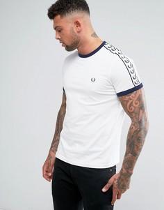 Белая футболка узкого кроя с лентой на рукавах Fred Perry Sports Authentic-Белый