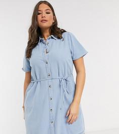 Свободное джинсовое платье-рубашкаASOS DESIGN Curve-Синий