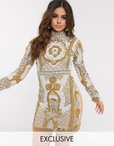 Оригинальное платье мини A Star Is Born с высоким воротником и золотистым узором-Мульти