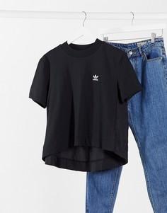 Укороченная черная футболка с трилистником adidas Originals Bellista-Черный