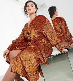 Платье мидис запахом и пайетками ASOS EDITION Curve-Оранжевый