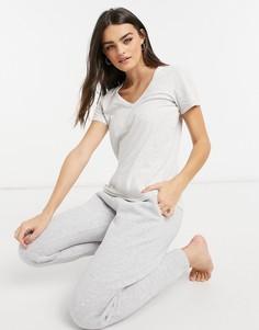 Светло-серая футболкас V-образным вырезом Aerie-Серый