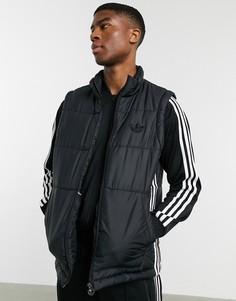 Черный жилет с 3 полосками adidas Originals