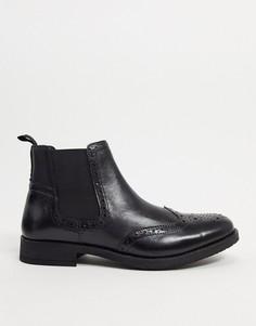 Черные кожаные ботинки челси Silver Street-Черный