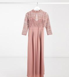 Розовое платье мидакси с кружевом Little Mistress Maternity-Розовый