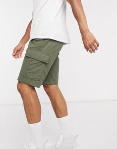 Саржевые шорты-карго цвета хаки с поясом Tommy Hilfiger-Зеленый