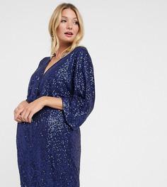 Темно-синее платье мини с широкими рукавами и пайетками Club L London Maternity-Темно-синий