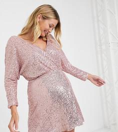 Нежно-розовое платье мини Club L London Maternity-Розовый