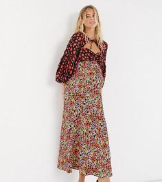 Атласное платьемакси с цветочнымпринтоми завязкой на шееASOS DESIGN Maternity-Мульти
