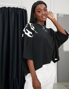 Черная короткая футболка с рукавами 3/4Diesel-Черный