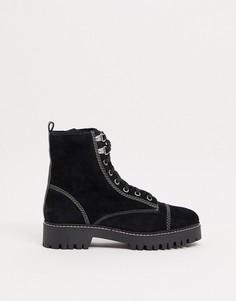 Черные замшевые ботинки на шнуровке с контрастной обстрочкой River Island-Черный