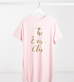 """Розовая футболка для сна с принтом """"bump club"""" эксклюзивно дляASOS DESIGN Maternity-Розовый"""