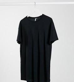 Черная длинная фактурная футболка с разрезамиASOS DESIGN Maternity-Черный