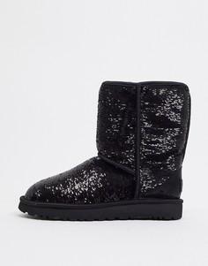 Черные ботинки с двусторонними пайетками UGG-Черный