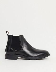 Черные кожаные ботинки челси Base London-Серый