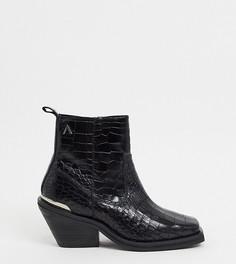 Ботинки из искусственной кожи под крокодила с квадратным носом ASRA Exclusive Maverick-Черный
