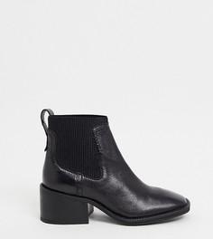Черные кожаные ботинки челси с квадратным носом ASRA Exclusive Manth-Черный