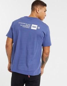 Синяя свободная футболка с логотипом на спине Levis-Синий