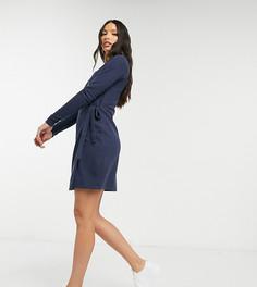 Темно-голубое платье мини с запахом ASOS DESIGN Tall-Темно-синий