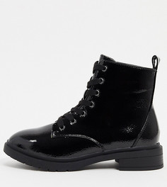 Черные лакированные ботинкиNew Look wide fit-Черный