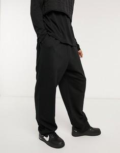 Черные джоггеры в стиле oversized с фиксаторами ASOS DESIGN-Черный цвет
