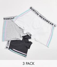 Набор из 3 боксеров-брифов с полосками по бокам Burton Menswear-Серый