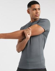 Серая обтягивающая футболка из быстросохнущей ткани ASOS 4505-Серый