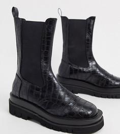 Черные ботинки челси на массивной подошве с эффектом крокодиловой кожи Z_Code_Z-Черный