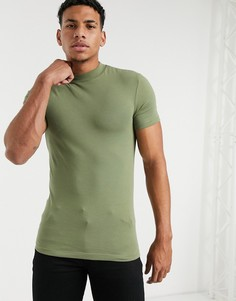 Обтягивающая футболка цвета хаки с высоким воротом ASOS DESIGN-Зеленый