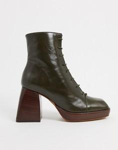 Кожаные ботинки цвета хаки на платформе со шнуровкой ASOS DESIGN-Зеленый цвет