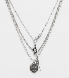 Серебристое ожерелье в несколько рядов с подвеской-черепом Reclaimed Vintage inspired-Серебряный