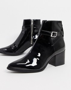 Черные лакированные ботинки челси с острым носомASOS DESIGN-Черный