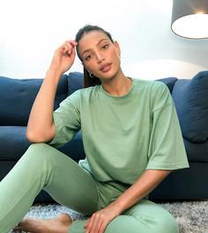 Комплектиз футболкив стиле oversized и зауженных джоггеров шалфейно-зеленого цвета Missguided Tall-Зеленый