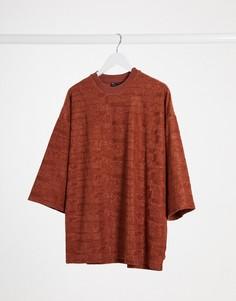 Светло-коричневая футболка в стиле oversized с рукавами 3/4 ASOS DESIGN-Светло-коричневый