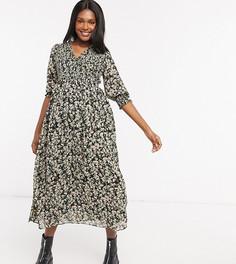 Свободное платье миди с гофрированными манжетами и цветочным принтом ASOS DESIGN Maternity-Мульти