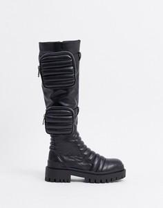 Черныевысокие ботинки в байкерском стилеPublic Desire-Черный