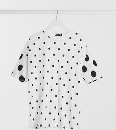 Oversized-футболка в горошек ASOS DESIGN Tall-Белый