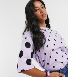 Лавандовая oversized-футболка в горошек ASOS DESIGN Petite-Фиолетовый