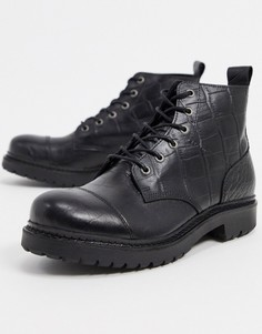Черные кожаные ботинки с крокодиловым рисунком Selected Femme-Черный