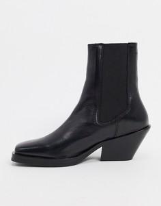 Черные кожаные полусапожки на каблуке с квадратным носком Selected Femme-Черный