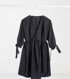 Черное свободное платье мини с пуговицами ASOS DESIGN Maternity-Черный