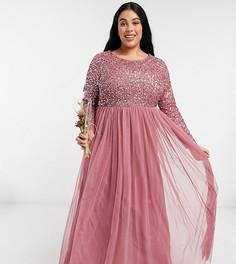 Розовое платье макси с пайетками, длинными рукавами и фатиновой юбкой Maya Plus-Розовый