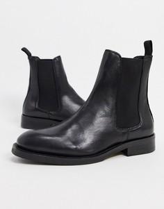 Черные кожаные ботинки челси Selected Femme-Черный