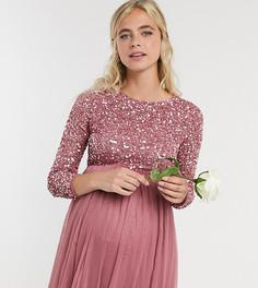 Розовое платье макси для беременных с пайетками, длинными рукавами и фатиновой юбкой Maya Maternity-Розовый
